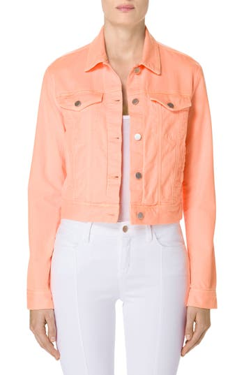 Women's J Brand Sun Harlow Shrunken Denim Jacket, Size X-Small - Orange