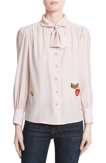 Women's Harvey Faircloth Boy Scout Patch Silk Blouse