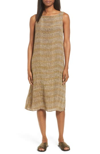 Women's Eileen Fisher Stripe Bateau Neck Silk Dress