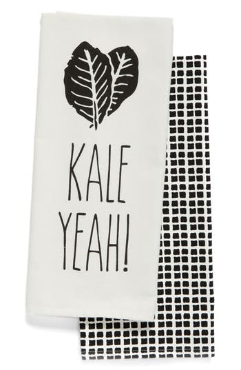 Levtex Kale Yeah Set Of 2 Dish Towels, Size One Size - Black