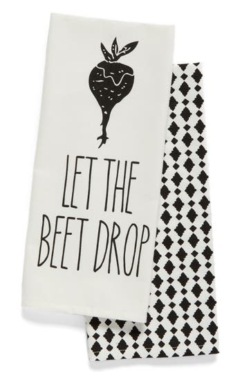 Levtex Let The Beet Drop Set Of 2 Dish Towels, Size One Size - Black