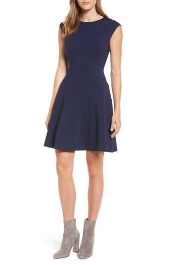 Halogen Ponte Fit & Flare Dress, Blue