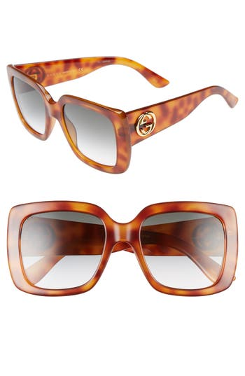 Women's Gucci 53Mm Square Sunglasses - Havana/ Green