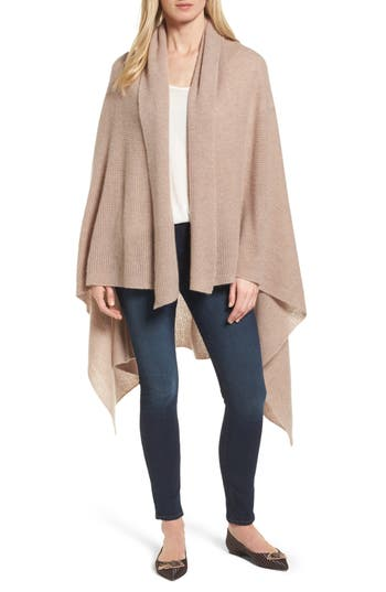 Women's Halogen Waffle Knit Cashmere Wrap, Size One Size - Brown