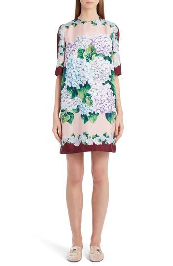 Dolce & gabbana Hydrangea Print Silk Shift Dress