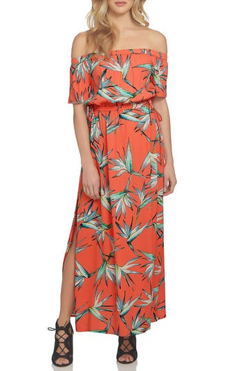 1.state Off The Shoulder Blouson Maxi Dress, Coral
