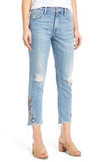 Women's Tularosa Hailey Embroidered Straight Leg Crop Jeans