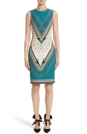 Versace Collection Scarf Print Dress, US / 40 IT - Blue