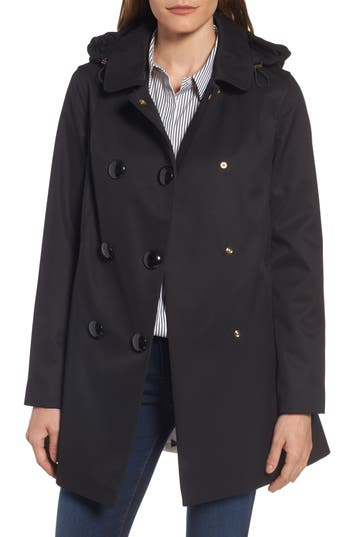Women's Kate Spade New York Scallop Pocket A-Line Raincoat, Size X-Small - Black
