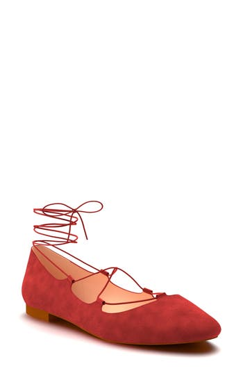 Shoes Of Prey Ghillie Pointy Toe Ballet Flat - Red