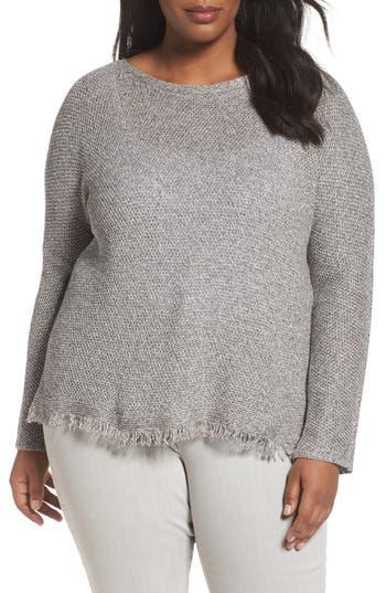 Plus Size Women's Eileen Fisher Fringe Hem Sweater, Size 2X - Grey