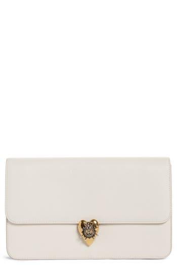 Alexander Mcqueen Heart Leather Clutch - White