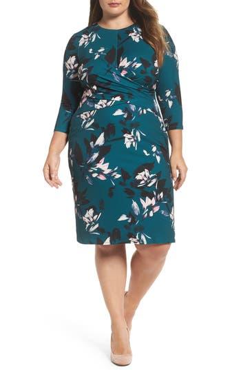 Plus Size Women's Eliza J Floral Faux Wrap Sheath Dress