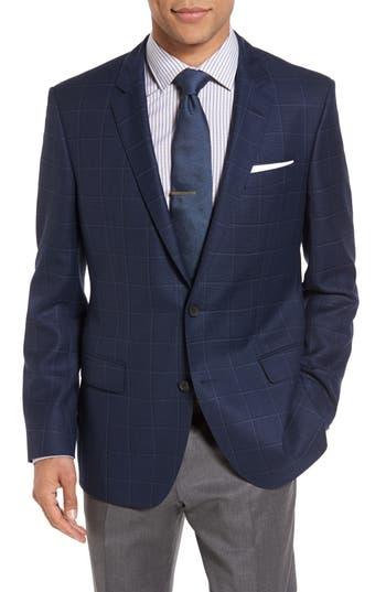 Boss Hutch Trim Fit Windowpane Wool Sport Coat, 0L - Blue