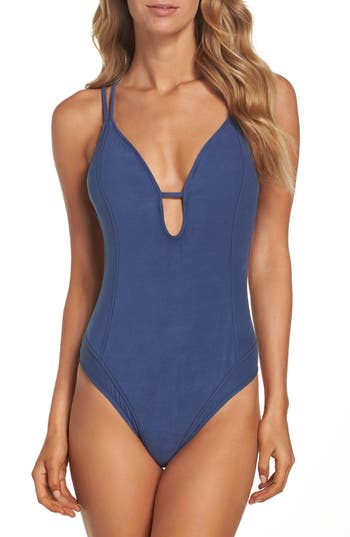 Lucky Brand Suede With Me One-Piece Swimsuit