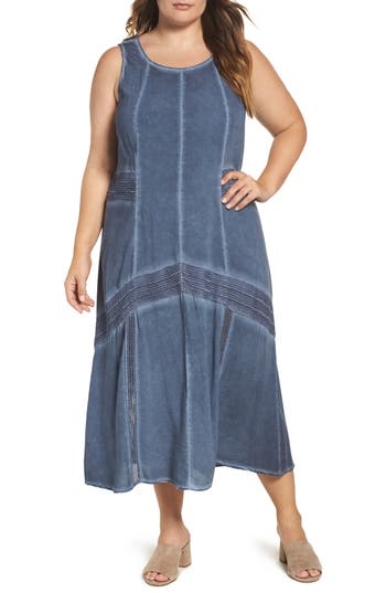 Plus Size Women's Xcvi Wearables Lace Trim Shift Dress, Size 1X - Blue