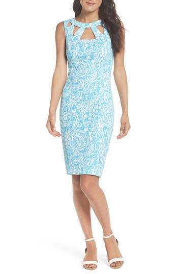 Eliza J Cutout Sheath Dress, Blue