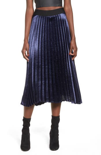 Elodie Pleated Satin Midi Skirt, Blue