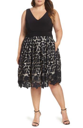 Plus Size Xscape Lace & Jersey Dress, Black