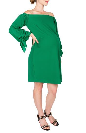 Nom Maternity Octavia Off The Shoulder Maternity Dress, Green