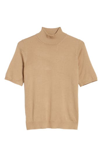 Eileen Fisher Merino Wool Mock Neck Sweater, Beige