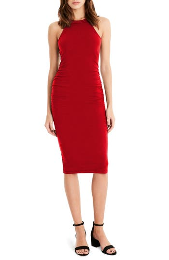 Michael Stars Halter Midi Dress, Red