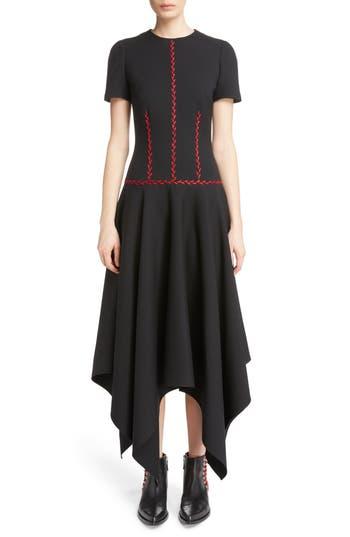 Alexander Mcqueen Stitched Handkerchief Hem Dress, US / 44 IT - Black