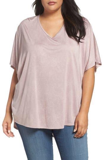 Plus Size Women's Sejour Oversized Double V-Neck Tee