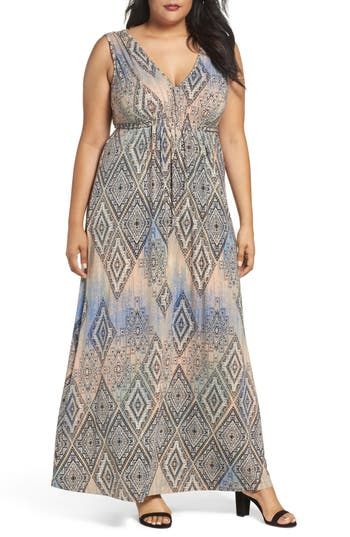 Plus Size Tart Grecia Sleeveless Jersey Maxi Dress, Coral
