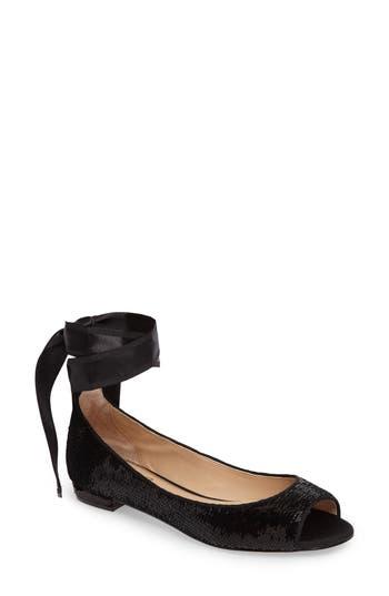 Jewel Badgley Mischka Ankle Strap Skimmer Flat, Black