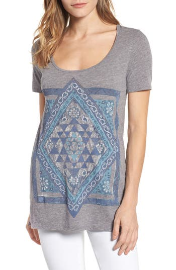 Lucky Brand Celestial Mandala Top, Grey