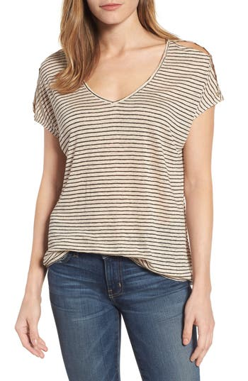 Lucky Brand Cold Shoulder Stripe Linen Tee, White