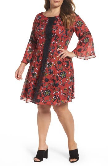Plus Size Gabby Skye Lace Trim Floral Bell Sleeve Dress, Red
