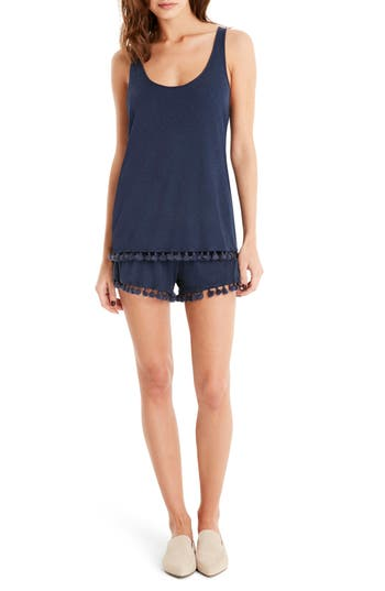 Michael Stars Fringe Trim Layered Romper, Blue
