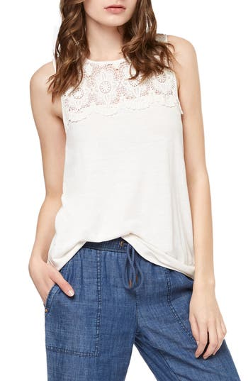 Women's Sanctuary Estee Crochet Yoke Tank, Size Small - White