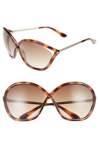 Tom Ford Bella 71Mm Gradient Lens Sunglasses - Blonde Havana/ Gradient Brown