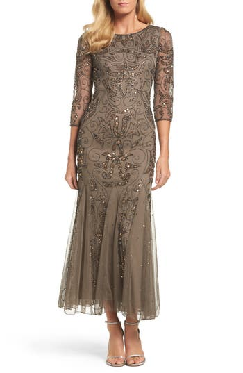 Pisarro Nights Embellished Mesh Gown, Brown