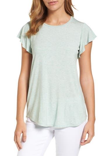 Women's Bobeau Flutter Sleeve Tee, Size X-Small - Green