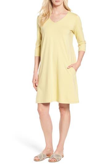 Women's Eileen Fisher Stretch Organic Cotton Jersey Shift Dress, Size X-Large - Yellow