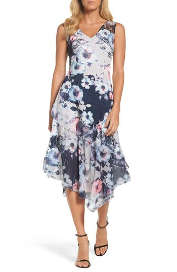 Komarov Floral Asymmetric Hem Dress, Blue