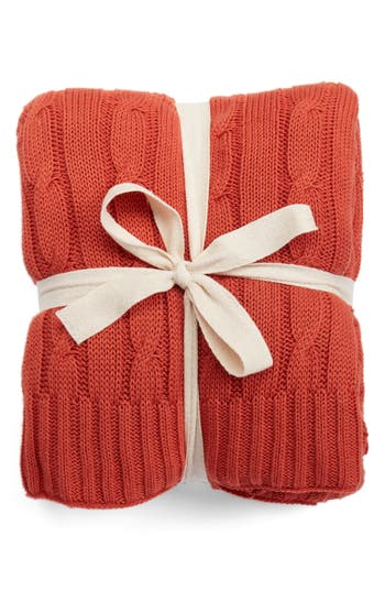 Rizzy Home Cable Knit Cotton Throw, Size One Size - Orange