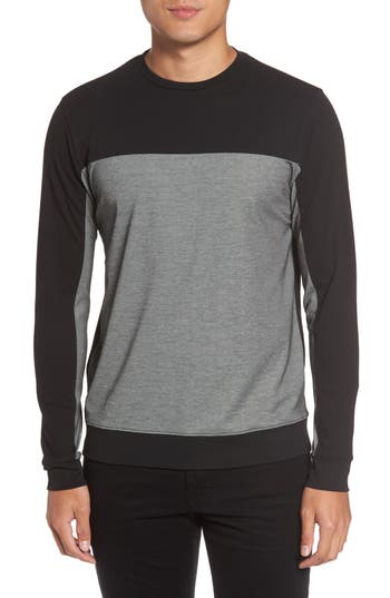 Vince Colorblock Slim Fit Crewneck Sweater, Black