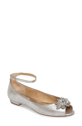 Badgley Mischka Kaidence Embellished Peep-Toe Flat- Metallic
