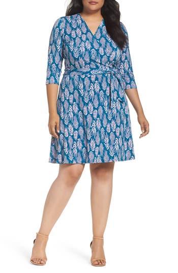 Plus Size Women's Leota Wrap Dress, Size 3X - Blue
