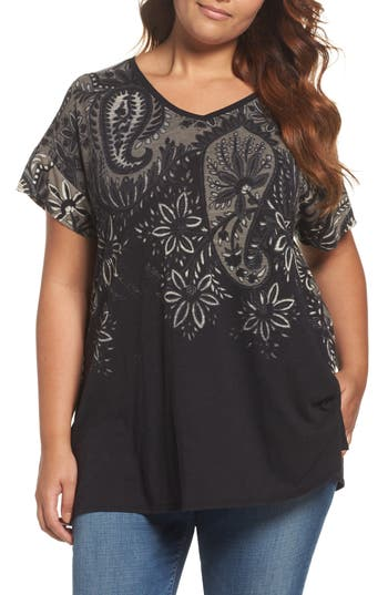 Plus Size Lucky Brand Big Paisley Top
