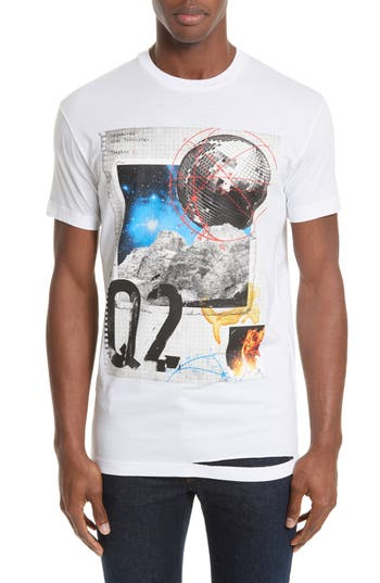 Dsquared2 Distressed Graphic Crewneck T-Shirt, White