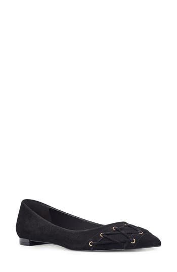 Nine West Alyssum Corset Skimmer Flat, Black