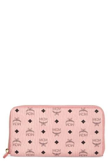 Women's Mcm Visetos Coated Canvas Zip Wallet - Pink