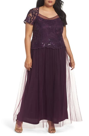 Plus Size Brianna Sequin Bodice Gown, Purple