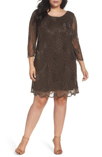 Plus Size Pisarro Nights Embellished Mesh Cocktail Dress, Brown